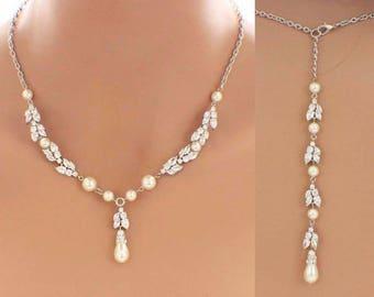 Wedding necklace, statement bridal necklace, backdrop necklace, pearl necklace earrings, bridal jewelry set, pearl set, wedding jewelry set