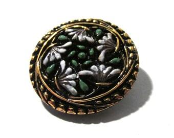 Czech Glass Button Flowers Botanical 27mm VINTAGE Czech Button Black Gold Luster Hand Painted Czech Glass Button Jewelry Supply (N75)
