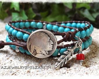 Turquoise Leather Wrap Bracelet/ Double Wrap Bracelet/ Turquoise Leather Bracelet/ Native American Wrap Bracelet/ Beaded Wrap Bracelet**