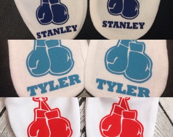 Personalised Boxing Gloves Baby Scratch Mitts