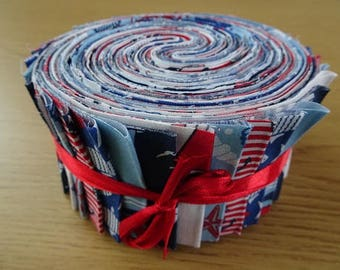 40 Jelly Roll Strips 100% Cotton Patchwork Fabric ~ Days by the Sea