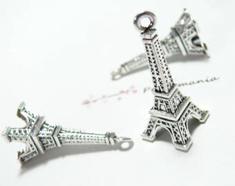 1 piece Eiffel Tower 3D large Silver Pendant