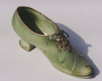 AS IS-- Green Shoe Ceramic! Retro Midcentury!