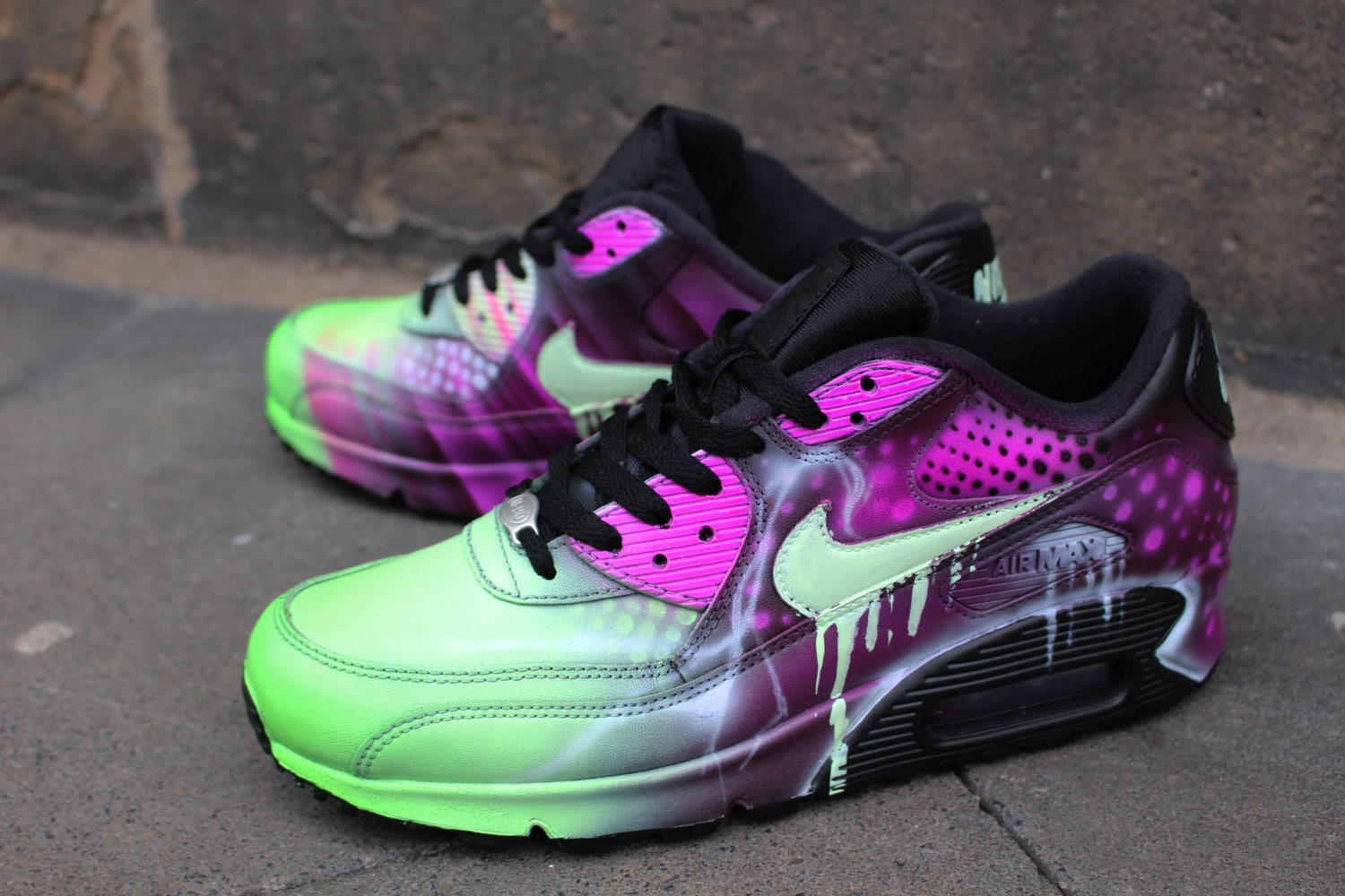 Custom Nike Air Max 90 Pink Abstract Art Style Shoes Sneaker