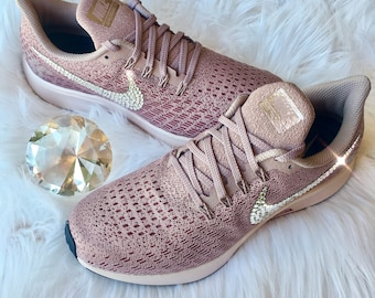 NEW Bling Nike Air Zoom Pegasus 35 Shoes with Swarovski Crystals * Rose Gold