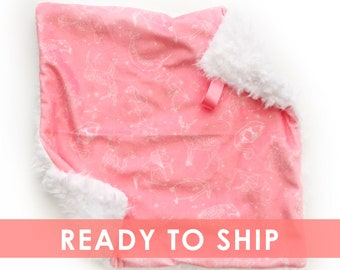 Pink Constellations Lovey Mini Baby Blanket Security Blanket Faux Fur Blanket Minky Blanket Star Nursery Pink Constellations