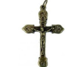 Set of 3 -Bronze Fancy Bordered Crucifix