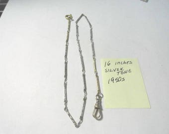 1950s Pocket Watch Chain Silver Tone 16 Inches Long 1 mm chain