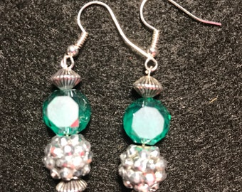 Teal and silver drop earrings