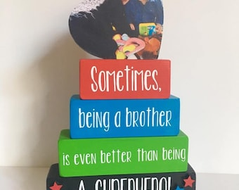 Sometimes Being A Brother, stacking blocks, shelf sitter, big brother gift