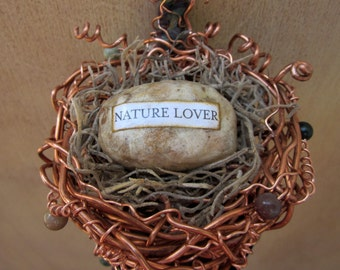 Copper Nest Handwoven in a Vintage Serving Spoon for Nature Lover's