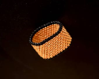 Galvanised Bright Gold and Black Beaded Ring , Peyote Stitched Ring ,Gift for her,  Festival Ring , Handmade Beaded , Seed Beads Ring