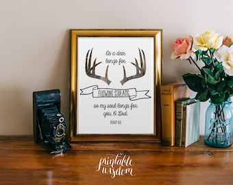 Bible Verses art printable Scripture wall art print Christian wall decor feathers, inspirational quote Psalm 42:1 antlers INSTANT DOWNLOAD
