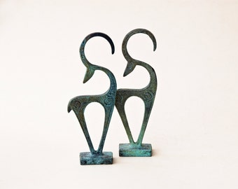 Mini Elegant Metal Wild Goat Sculpture, Bronze Ibex, Metal Art Sculpture, Constellation Capricorn, Museum Quality Art, Geometric Greek Art
