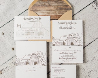 Calligraphy Old Barn Wedding Invitation Suite Semi Custom, Farm Invitation, RSVP Card, Wedding Details, Special Occasion Invite, Watercolor