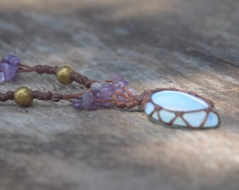 Stunning handmade necklace with opalite and amethysts on hemp cord