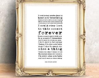 1st anniversary song ~ Songbird custom poem print wedding anniversary song lyrics