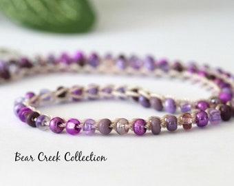 Seed Bead Necklace / Purple Haze / Lilac, Lavendar Glass, Crochet Beaded Choker, Bohemian, Beach, Summer Jewelry, Crochet Jewelry