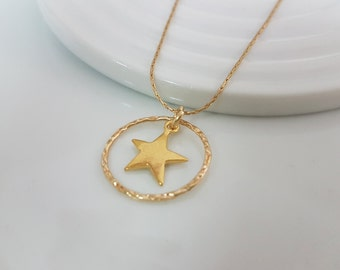 Full moon and star necklace, Gold star necklace for girlfriend, layering necklace gold filled