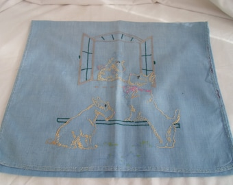 Blue linen embroidered pyjama case