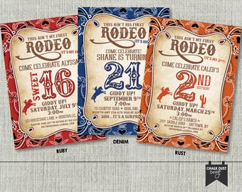 Rodeo Birthday invitations. Sweet 16, second, 21 or any age, color or occasion Surprise. This ain't my first rodeo! Digital or Printed 5 x 7
