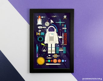 Space Collection Print • Outer Space Print • Astronaut Space Art Poster • Astronomy Decor • Knolling Print • Graphic Design Poster