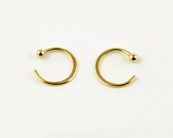 Tiny Hugging Hoops, Gold Plated Earrings, Simple Hug Earrings, Small Ball End Hoops, Minimalist Jewelry,  Gift for Her, LUNAI, EAR026