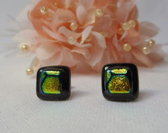 Dichroic glass earrings yellow black honeycomb honeybee studs birthday anniversary Christmas Mothers Day gift for her wife girlfriend sister