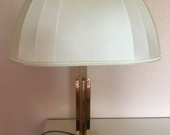 Beautiful large brass table lamp with silk screen 1970s