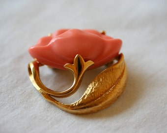 Vintage Apricot Colored Poppy PIn