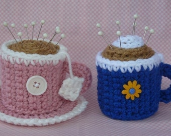 Coffee and Tea Pincushion Crochet PATTERN - INSTANT DOWNLOAD