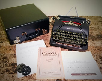 1947 Smith Corona Sterling Portable Typewriter Floating Shift With Case