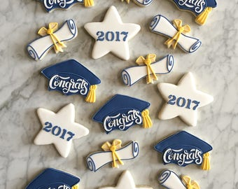 Graduation Decorated Cookies (no stars) - One Dozen