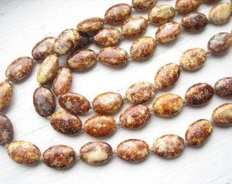"Vintage ochre glass bead necklace, rust glass bead, knotted glass bead, long brown glass, 48"" Czech glass bead, long Czech glass"