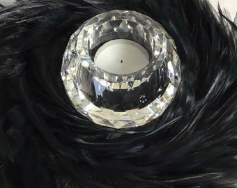 "Vintage Black Feather Candle Holder Wreath 9"" Diameter Candle Crystal Not Included"