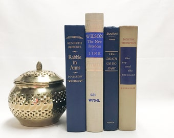 Blue and Tan Decorative Books for Shelf Decor, Vintage Decor, Blue Books