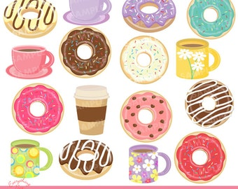 Donuts Choco Coffee Clipart Set