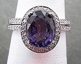 AAA Natural Purple Spinel   10x8mm  2.71 Carats   set in 14K White gold diamond bridal set (.50ct) 0964 B108