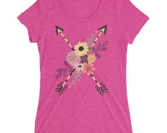 Peaceful Arrows - Ladies Triblend Tee - 5 Color Choices