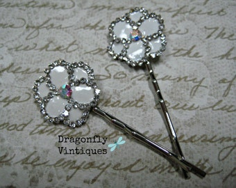 Vintage Upcycled Hair Pins, Repurposed Jewelry, Recycled, Silvertone, White, Wedding, Bridesmaids, Gift for Her  (21)