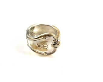 Vintage spoon ring, monogram silverware jewelry