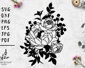 Peony Flowers Design - Papercut, Machine Cut & Clipart - SVG DXF PNG Eps Pdf Jpg