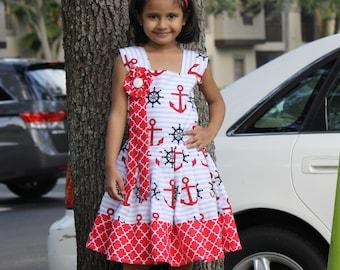 Girls Nautical Dress, Girls Summer Dress, Girl Red and White Dress