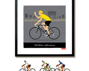 PERSONALISED Yellow Jersey, Tour de France, Cycle Art, Customisable, Name, Race Number, Hair, Eye and Bike Colour