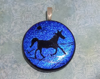 Horse Jewelry, Blue Dichroic Pendant, Hand Etched Necklace Slide, Western, Fused Glass Jewelry on Etsy, Ready to Ship - Bold Venture -3758-2