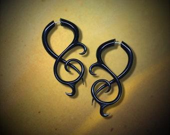Thistle Twists, Black Horn, Fake Gauge, Tribal Earrings, Organic, Handmade, Split, Faux Expansers, Cheaters, Plugs - H15