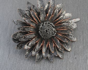 Leather flower hairclip