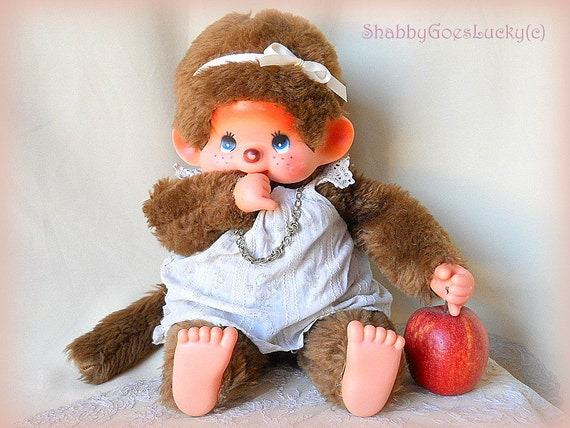 Large Monchhichi girl, vintage 1970s unmarked Sekiguchi clone, 18 inch thumb sucking blue eyed Japan monkey doll, XXL