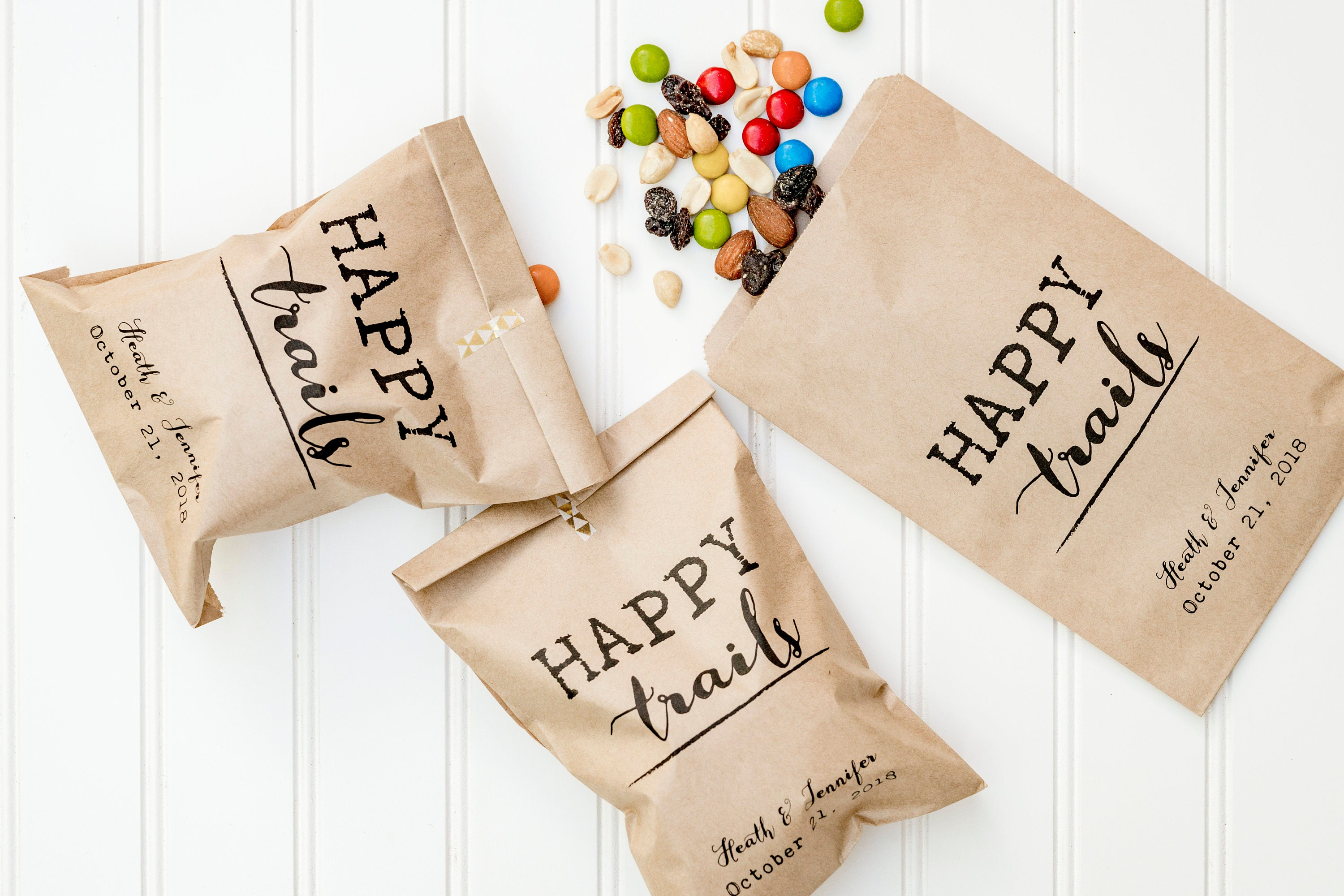 Happy Trails Personalized Wedding Favor Bags Trail Mix Bar