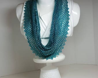 Handwoven beaded scarf in Zircon (a scarf made completely of beads)